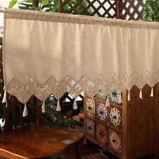 Linen Cotton Lace Stitching Home Kitchen Sheer Cafe Curtain 16022805 150 Width X 45 Drop (cm)