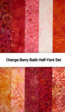Batik Stashbuilder Set UD 3 Half Yards in Brick Red//Orange//Peach//Purple Tones