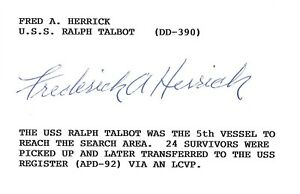 Fred Herrick Signed Index Card BAS E57291 WWII USS Ralph Talbot DD-390
