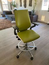 New listing 1/3 Steelcase Gesture Stool / Chair - Wasabi, Leather