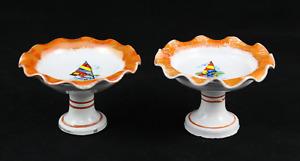 2 Fruteros Miniature Porcelain Surf Houses Of Dolls, Kitchen Juguete. Years 70