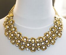 ZARA STYLE FLORAL DIAMANTE STATEMENT NECKLACE WEDDING 16ins 41cms UK SELLER