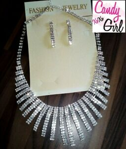Crystal Diamante Silver Spiral Statement Necklace And Earrings Jewellery Set