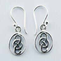Silver earrings Irish Celtic Eternity Knot drop 925 sterling silver dangle 25mm