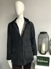 Barbour BEADNELL Ladies Waxed Wax Cotton Navy Jacket Coat Size UK 12 USA 8