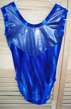 New listing INSPIRATION blue velveteen & foil leotard~girls size 8-10~M~gymnastics