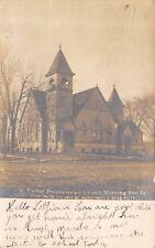 Morning Sun Iowa~United Presbyterian Church~Rutted Dirt Road~1907 RPPC