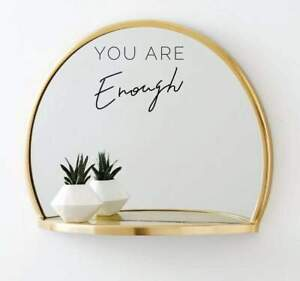 You Are Enough Vinyl Mirror Sticker Decal Inspiration Body Positive Quotes