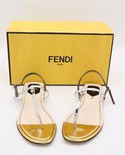 NIB Fendi Isabel Metallic Silver Gold Leather Thong Sandals New  10 40  ($495)