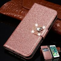 Luxury Leather Magnetic Flip Stand Bling Wallet Cover Case For iPhone & Samsung