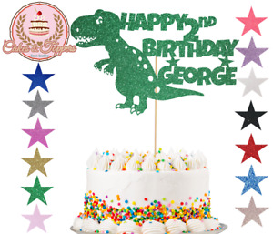 Dinosaur Glitter Cake Topper Personalise TRex Happy Birthday Party Any Name Age