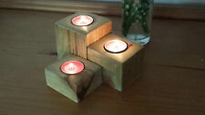 RUSTIC RECLAIMED PALLET WOOD SET OF 3 TEA LIGHT CANDLE  HOLDERS