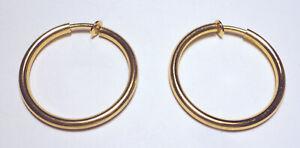 "Vintage GROSSE Dior GERMANY '72 Gold Tone 1 3/4"" HOOP EARRINGS Clip-on SIGNED"