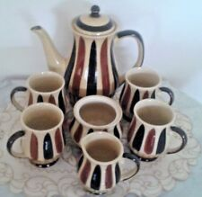 Coffee Set Retro Vintage 8 Peices Stone Ware Made In Japan