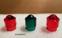 AMERICAN FLYER 3pc RED/GREEN TRANSFORMER JEWEL FACET LIGHT COVER -PERFECT FIT