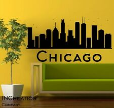 Huge Chicago Skyline Vinyl Wall Decal Wall Sticker Children Room Bedroom Cut out