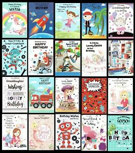 QUALITY ~ CHILDRENS BIRTHDAY CARDS ~ ONLY 99p Each Card ~ RELATION OR OPEN