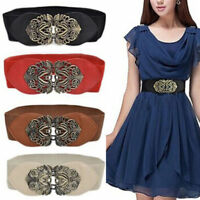 Women Buckle Wide Elastic Waist Belt Stretch Corset Metal Dress Waistband Belts