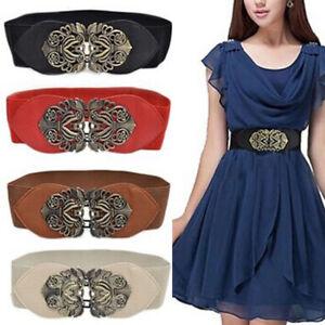 Women Wide Buckle Belt Stretch Dress Casual Elastic Waist Shirt Cinch Waistband