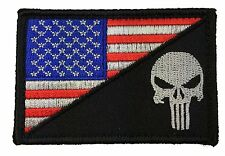 PUNISHER SKULL R/W USA FLAG EMBROIDERED MILITARY 3.0 INCH HOOK PATCH