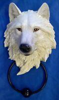 NEMESIS NOW LIGHT GUARDIAN WHITE WOLF HEAD DOOR KNOCKER - WILDLIFE ANIMAL FIGURE
