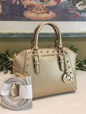 MICHAEL KORS CIARA STUDDED MEDIUM MESSENGER CROSSBODY LEATHER BAG $328 PALE GOLD