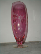 "Bohemian Crystal Cranberry Flashed Glass Etched Floral 10-1/2""  Flower Vase"