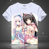 Hot Anime Chocola&Vanilla Nekopara T-shirt Short Sleeve Unisex Tops Cosplay Tee