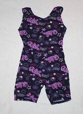 Girl Pink Black Purple Glitter Jacques Moret Biketard Gymnastics size XS 4/5
