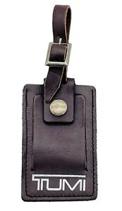 TUMI Brown / Silver Leather Luggage Tag Name Tag