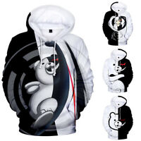 Men Women Hoodie Sweatshirt 3D Monokuma Print Jacket Coat Pullover Tops