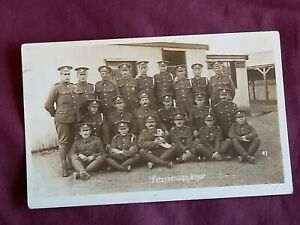 VINTAGE WW 1 ERA REAL PHOTO POSTCARD, YOUNG SOLDIERS, PETERBOROUGH BOYS