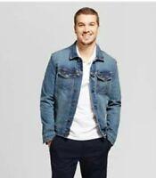 Men's Standard Fit Denim Trucker Jacket - Goodfellow & Co Blue, Size XXL
