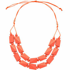 Pastel pink bead necklace made from a lightweight wood jewellery design