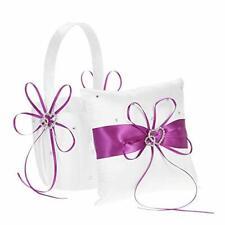 Double Heart Satin Ring Bearer Pillow and Wedding Flower Girl Basket Set 6 x 6