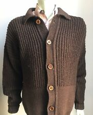 Inis Meain Irish Wool Cardigan Sweater, Size XL (44), Brown, Excellent Condition