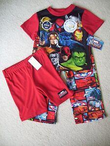 Boys Marvel Heroes 3 Piece Pajama Set Spiderman Captain America Hulk NWT Size 8
