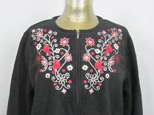 Croft & Barrow Womens Size L (46) Black Full Zip Fleece Cardinals/Flowers 20321