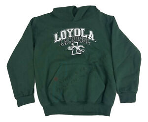 Champion Eco Fleece Loyola Lacrosse Green Pullover Hoodie Youth Medium w/ Pouch