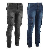 Mens Combat Cargo Cotton Denim Washed Jeans Pants Cuffed Zip Hem Stretch Trouser