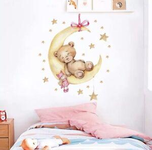 🌸Wandtattoo|Kinder-Babyzimmer|Teddy|Mond|Wandsticker|Mädchen|Junge|Neu🌸