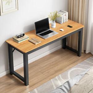 Profile Console Table Wood & Metal Narrow Desk (Oak & Black)