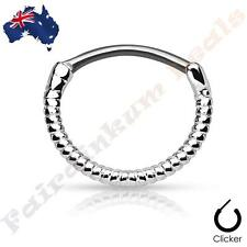 316L Surgical Steel Twisted Rope Silver Ion Plated Round Septum Ring Clicker