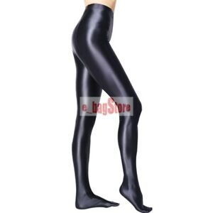 LEOHEX Women Shiny Pantyhose Sexy Tights Satin Glossy Opaque Strumpfhosen M-2XL