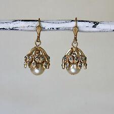 NWT La Vie Parisienne/Catherine Popesco Gold Crystal & Pearl Drop Earrings 4450G