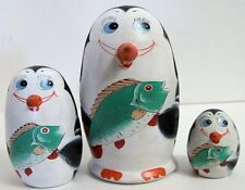 3pcs Hand Painted Russian Nesting Doll of Penguins w/ Handcarved Beaks