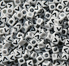Letter V - 100pc 7mm Alphabet Beads White with Glossy Black Letters