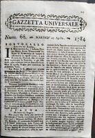 1784 GAZZETTA UNIVERSALE: RIVOLTA MAURITIUS; ASSEDIO DI CEUTA; MANGALORE (INDIA)