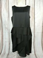 Mint Velvet Black Sleeveless Satin Layered Dress Size 16