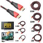 0.5 - 15M Tressé câble HDMI V1.4 AV HD 3D pour PS3 Xbox HDTV Mètres 1080P DF LOT